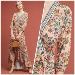 Anthro Farm Rio Clara wrap floral boho dress
